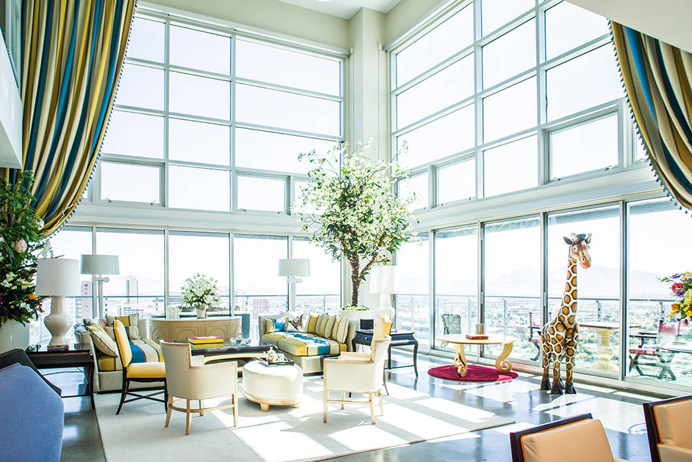 Las Vegas performer Frederic Da Silva has blended European taste with Las Vegas fun to decorate his downtown Newport Lofts penthouse he is leasing. The curtains are from Mandalay Bay and the giraf ...