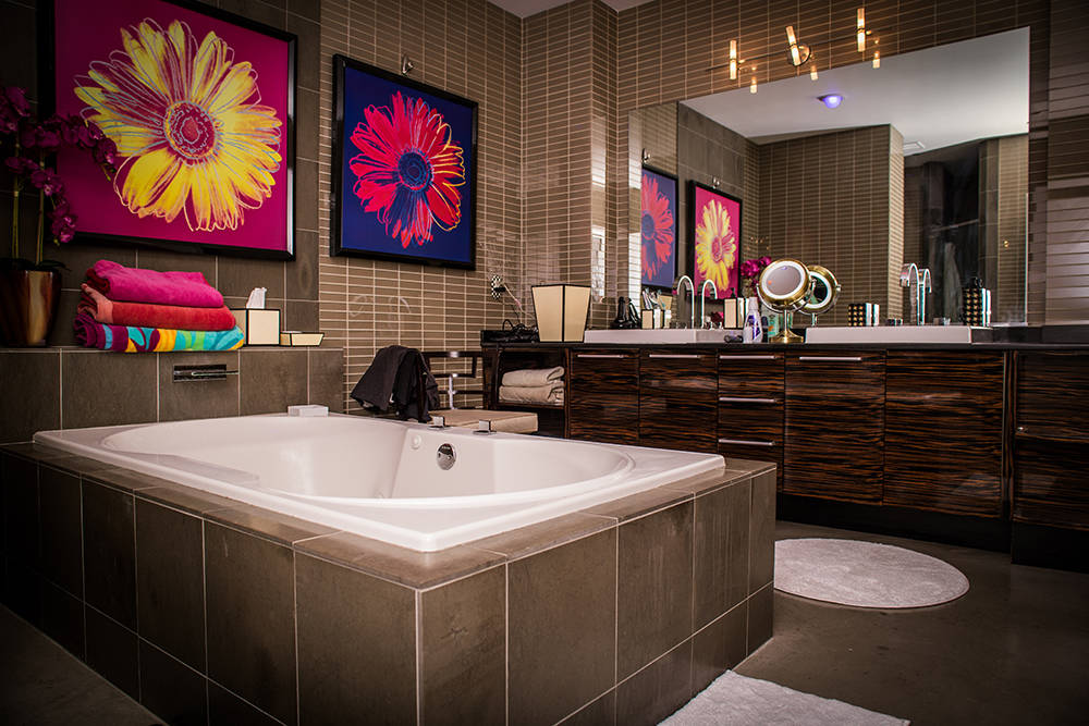 Even the master bath has decorations from the Wynn and Encore. (Tonya Harvey Real Estate Millions)