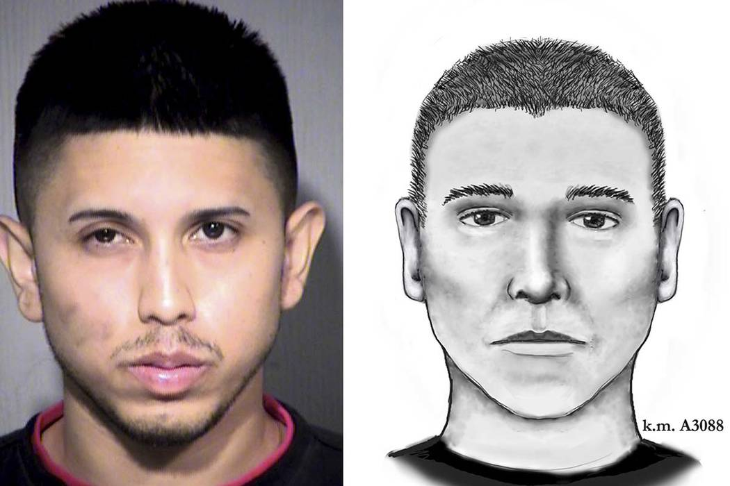 This photo and sketch combo shows Aaron Saucedo, a 23-year-old Phoenix man arrested in a string of 2016 serial killings that terrorized several Phoenix neighborhoods. He is proclaiming his innocen ...