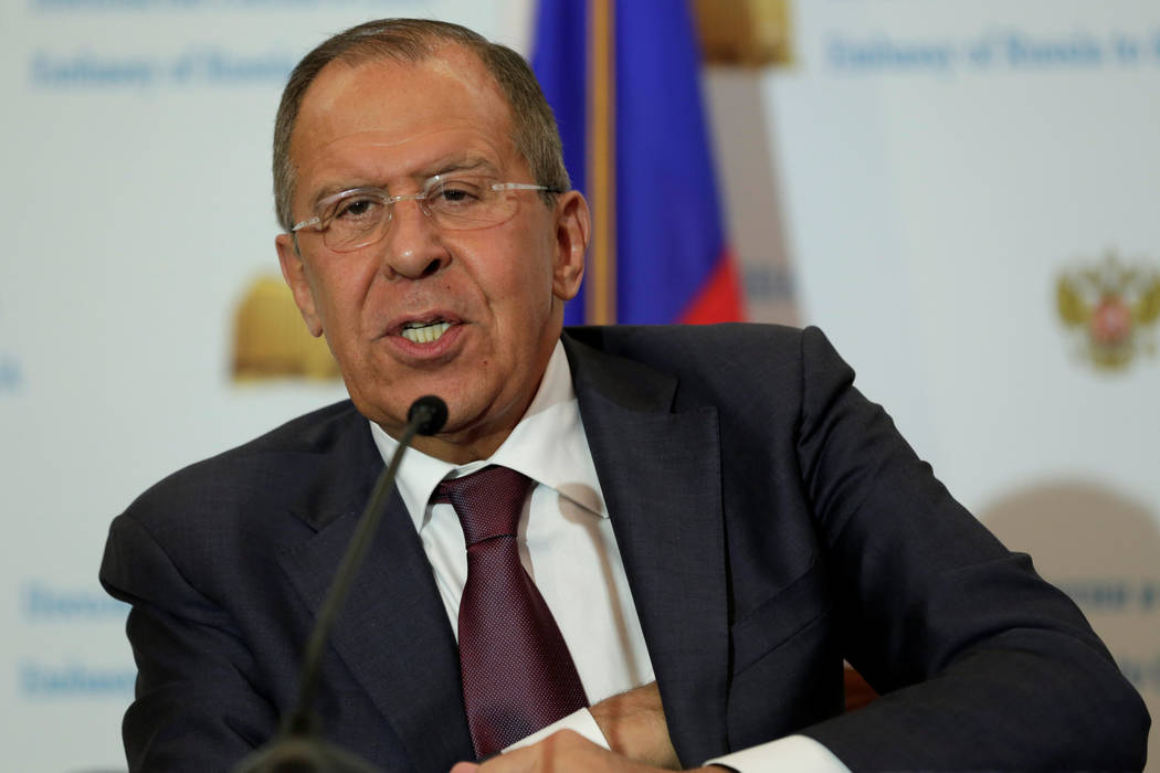 Russian Foreign Minister Sergey Lavrov speaks at his news conference at the Russian Embassy in Washington, Wednesday, May 10, 2017. (Yuri Gripas/Reuters)
