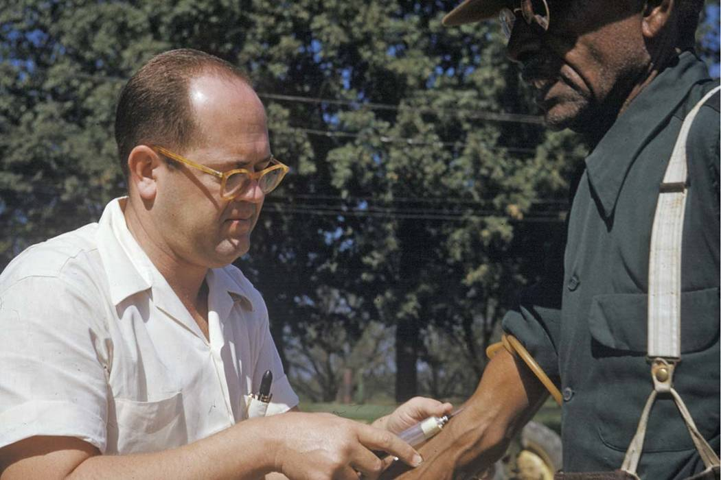 In this 1950's photo released by the National Archives, a black man included in a syphilis study has blood drawn by a doctor in Tuskegee, Alabama. For 40 years starting in 1932, medical workers in ...