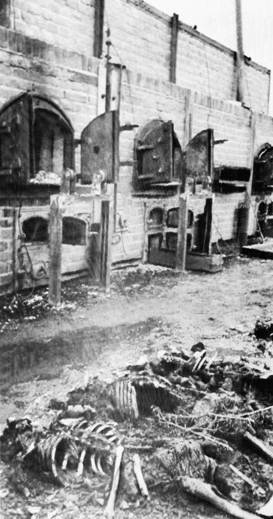 In this photo provided by the Soviet photo agency Sovfoto, skeletons of people tortured to death and burned lie near ovens of the crematorium operated by the Nazis in Lublin, P ...