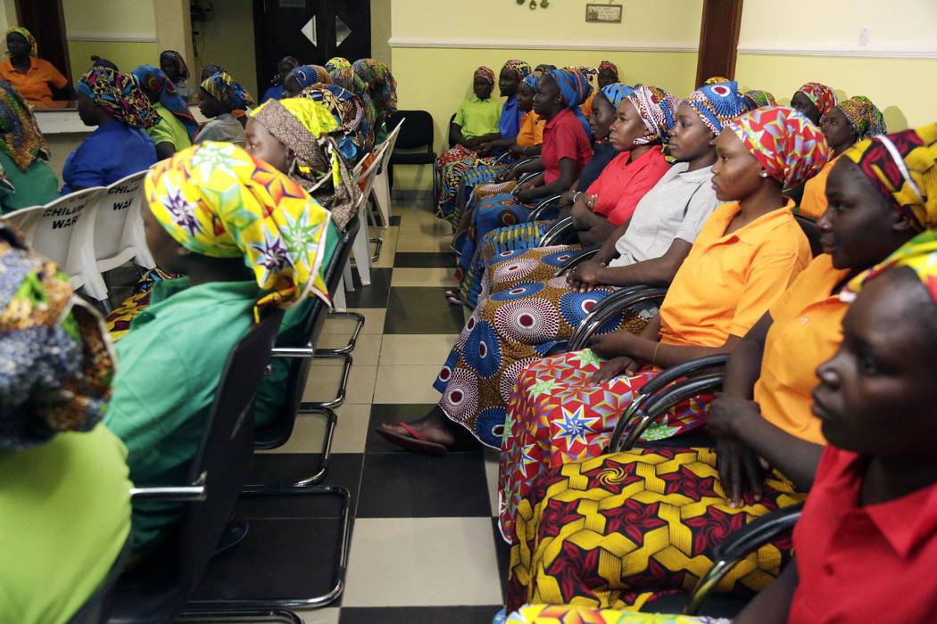 Chibok schoolgirls, recently freed from Nigeria extremist captivity, in Abuja, Nigeria, May 8, 2017. (Sunday Alamba/File, AP)