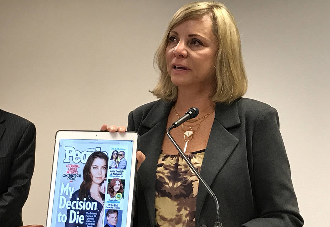 Debbie Ziegler, mother of 29-year-old Brittany Maynard who suffered a brain tumor and ended her life under Oregon's death with dignity law, speaks at a news conference Wednesday, May 10, 2017 in C ...