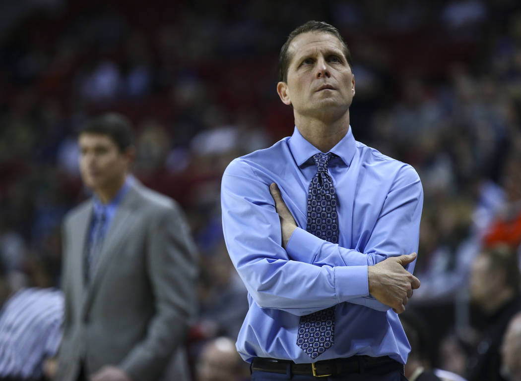 UNR head coach Eric Musselman looks on during the final moments of his game against Colorado State during the Mountain West Conference basketball championship game at the Thomas & Mack Center  ...