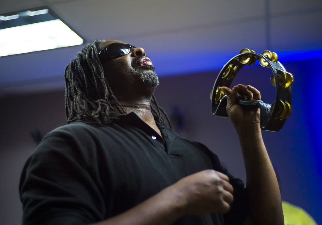 Horatio Turner of Broken Spectacles plays tambourine during band practice at the Blind Center in Las Vegas on Thursday, May 4, 2017. Chase Stevens Las Vegas Review-Journal @csstevensphoto