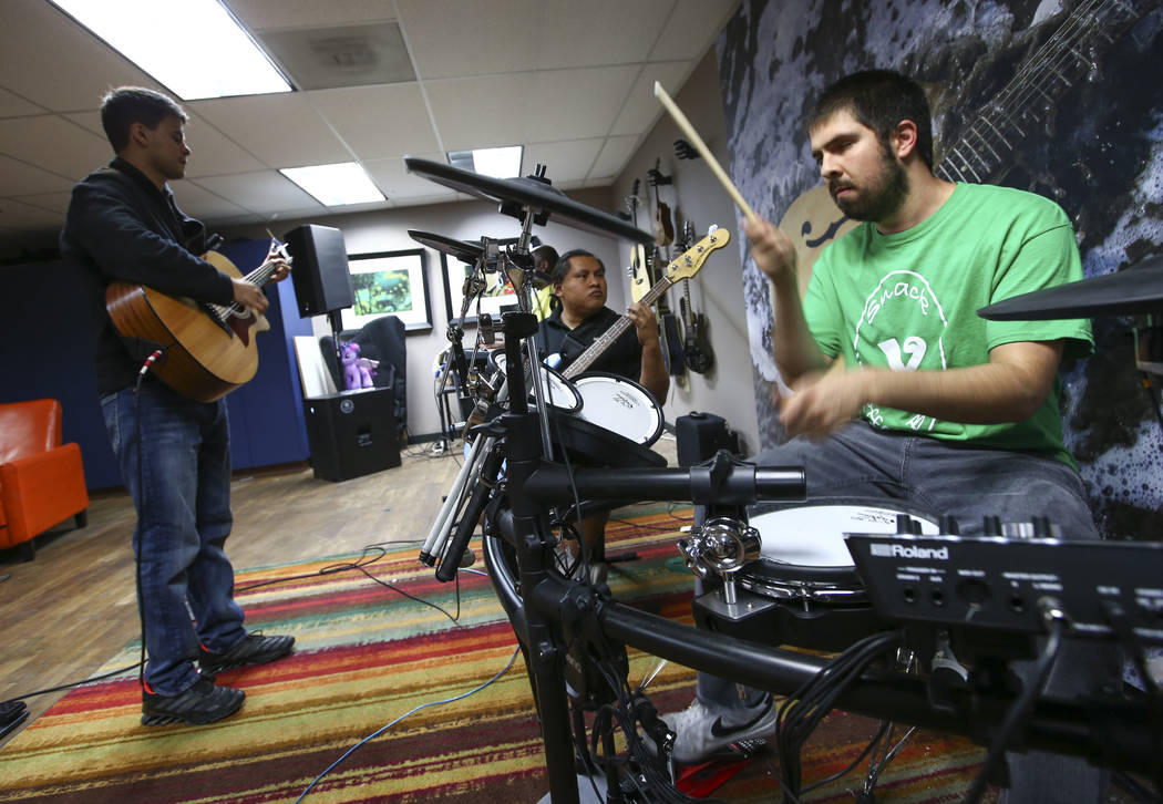 Gus Garcia, from left, Christian Anorve and Ivan Delgado of Broken Spectacles perform during band practice at the Blind Center in Las Vegas on Thursday, May 4, 2017. (Chase Stevens/Las Vegas Revie ...