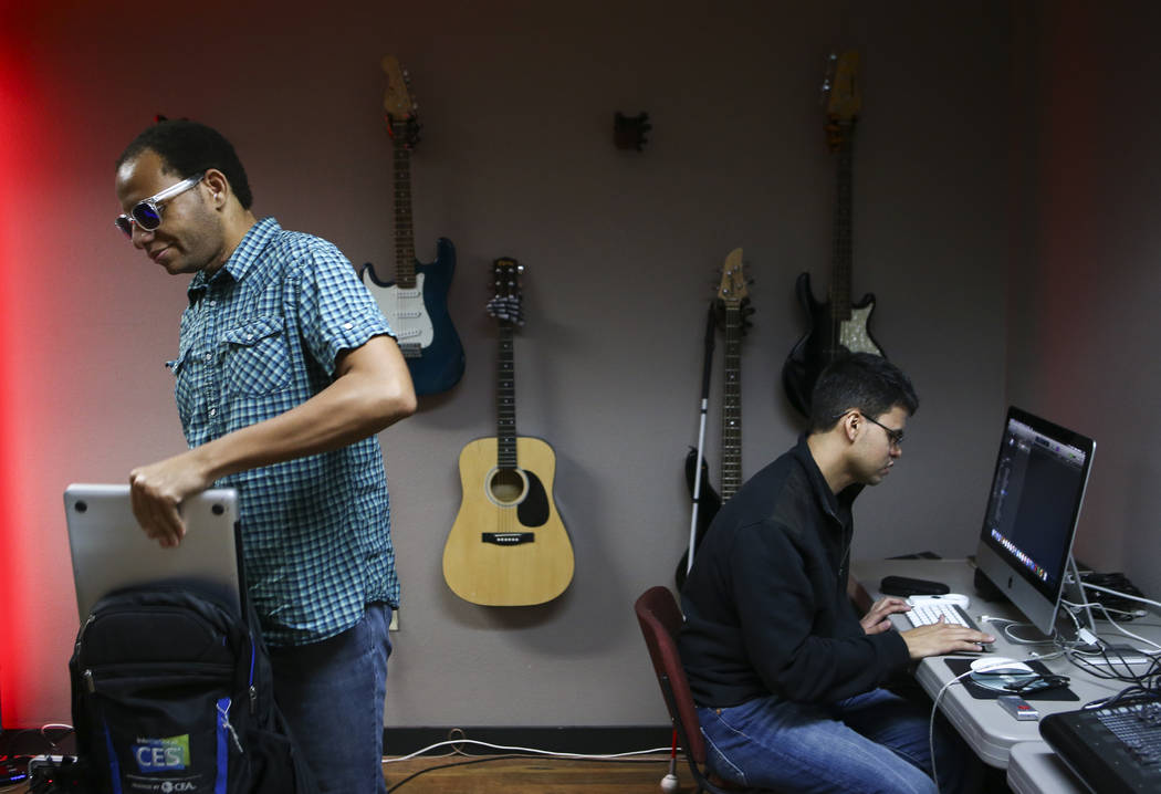 Anthony Andrews, left, and Gus Garcia of Broken Spectacles during band practice at the Blind Center in Las Vegas on Thursday, May 4, 2017. (Chase Stevens/Las Vegas Review-Journal) @csstevensphoto