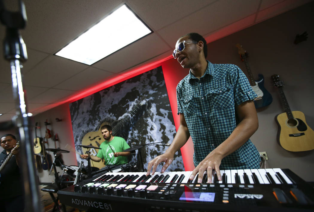 Anthony Andrews of Broken Spectacles plays keyboard during band practice at the Blind Center in Las Vegas on Thursday, May 4, 2017. Chase Stevens Las Vegas Review-Journal @csstevensphoto