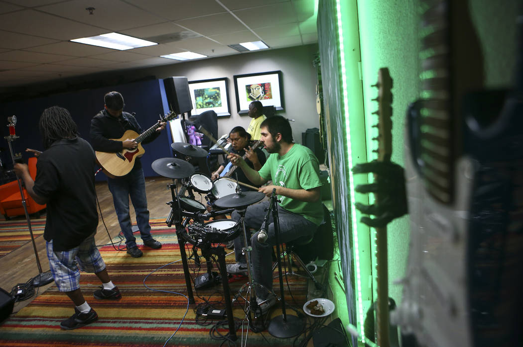 Ivan Delgado of Broken Spectacles, right, performs during band practice at the Blind Center in Las Vegas on Thursday, May 4, 2017. (Chase Stevens/Las Vegas Review-Journal) @csstevensphoto