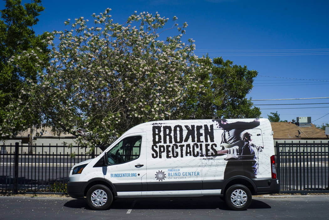 A van advertises the band Broken Spectacles at the Blind Center in Las Vegas on Thursday, May 4, 2017. (Chase Stevens/Las Vegas Review-Journal) @csstevensphoto