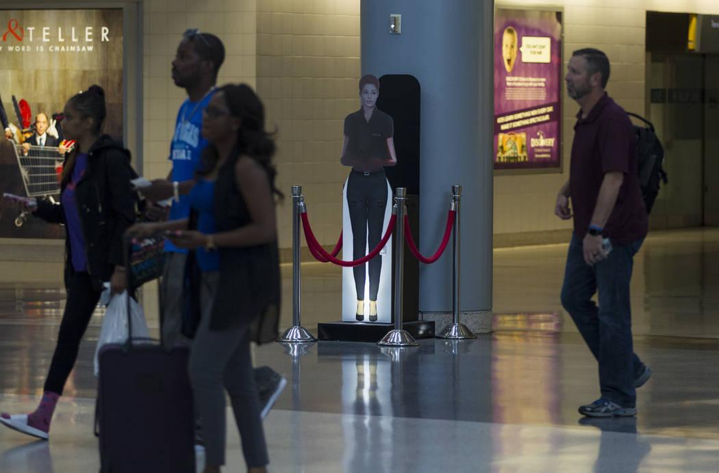 A self-service hologram at McCarran International Airport Terminal 1 on Thursday, May 11, 2017 in Las Vegas. Erik Verduzco Las Vegas Review-Journal @Erik_Verduzco