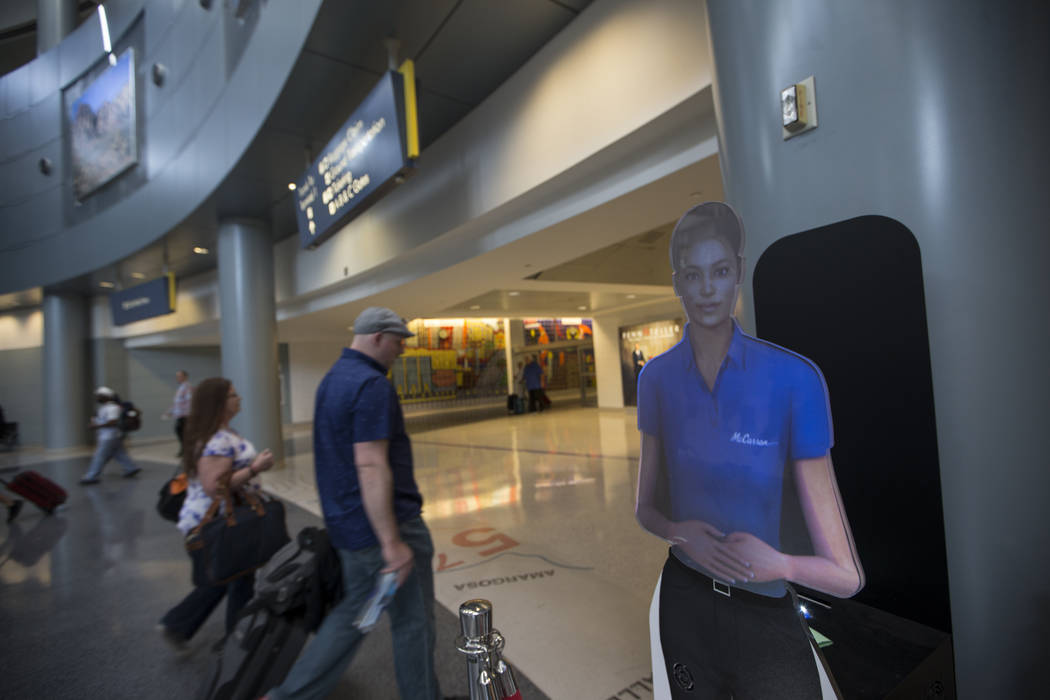 A self-service hologram at McCarran International Airport Terminal 1 on Thursday, May 11, 2017 in Las Vegas. Erik Verduzco Las Vegas Review-Journal @Erik_Verduzco