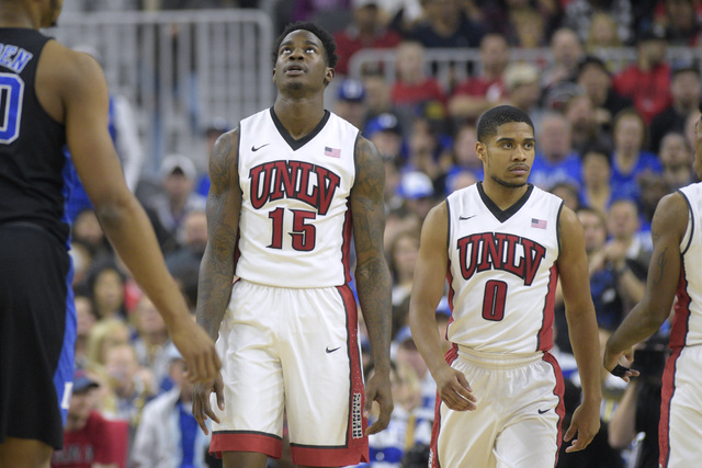 UNLV forward Dwayne Morgan looks up after being called for traveling during their NCAA basketball game Saturday, Dec. 10, 2016, at the T-Mobile Arena in Las Vegas. Duke won 94-45. Sam Morris/Las V ...