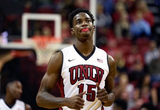 UNLV's Dwayne Morgan runs up court against Fullerton during the second half of an NCAA basketball game at the Thomas & Mack Center Saturday, Nov. 19, 2016, in Las Vegas. UNLV won 77-68. David  ...