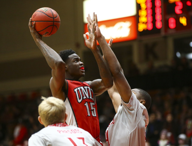 UNLV forward Dwayne Morgan (15) goes up for a shot against Southern Utah during a basketball game at the Centrum Arena in Cedar City, Utah on Wednesday, Nov. 30, 2016. Chase Stevens/Las Vegas Revi ...