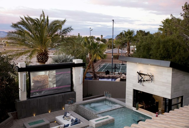 "Drew and Jonathan and Scott, who star on the HGTV's ""Property Brothers,"" hired HP Media Group to design and built a 165-inch, 12-foot-wide outdoor movie screen for their new Las Vegas home.  The s ..."