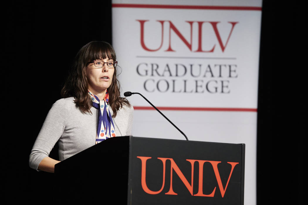 Meghan Pierce earned a Ph.D. in experimental psychology and was honored during the commencement ceremony for her outstanding academic and community achievements. UNLV Creative Services