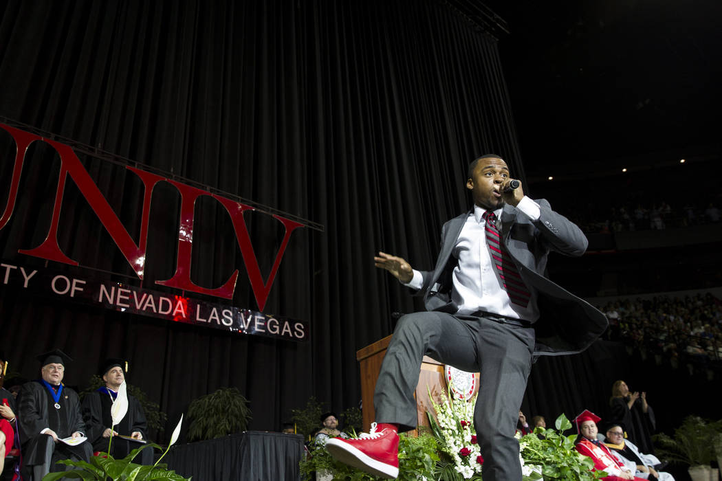 Master of Ceremonies and graduate Tre Norman performs during the UNLV at the Thomas & Mack Center on Saturday, May 13, 2017 in Las Vegas. Erik Verduzco Las Vegas Review-Journal @Erik_Verduzco