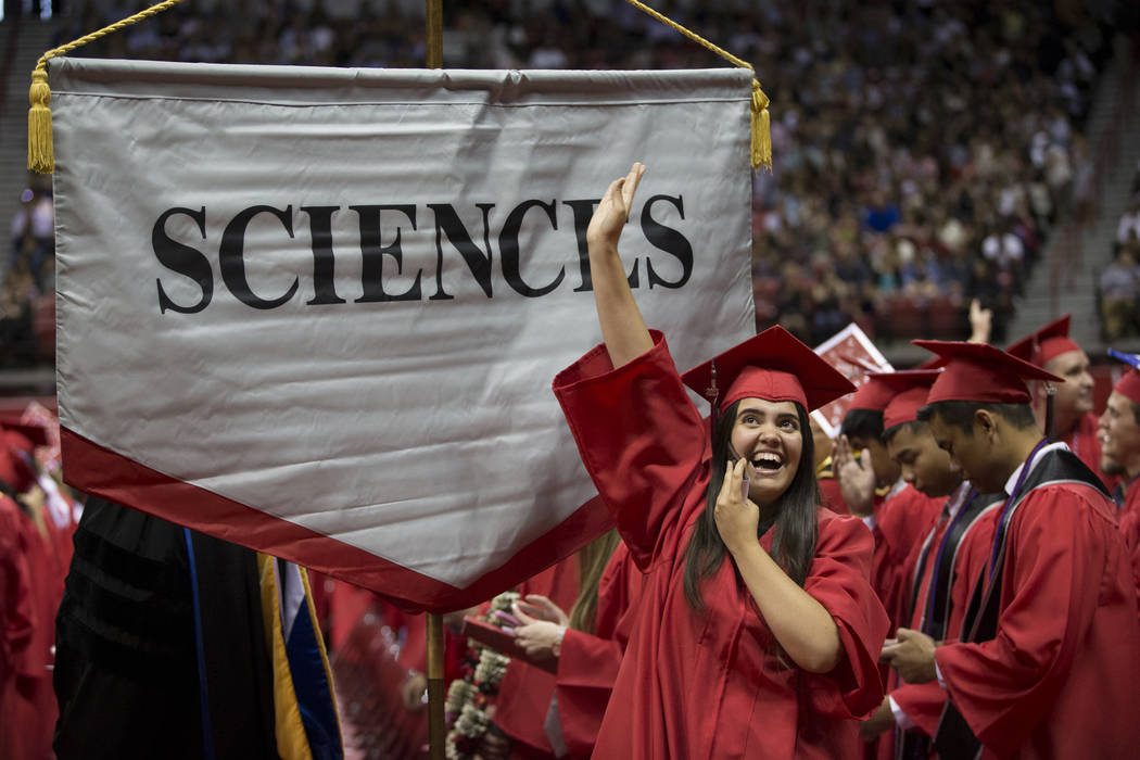 Aimee Gonzalez, math major, during the UNLV graduation at the Thomas & Mack Center on Saturday, May 13, 2017 in Las Vegas. Erik Verduzco Las Vegas Review-Journal @Erik_Verduzco
