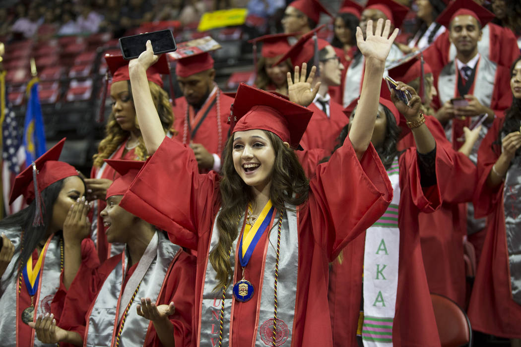 Kimberly Bueno, criminal justice major, during the UNLV graduation at the Thomas & Mack Center on Saturday, May 13, 2017 in Las Vegas. Erik Verduzco Las Vegas Review-Journal @Erik_Verduzco
