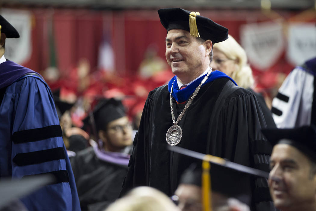 UNLV president Len Jessup during an UNLV graduation at the Thomas & Mack Center on Saturday, May 13, 2017 in Las Vegas. Erik Verduzco Las Vegas Review-Journal @Erik_Verduzco