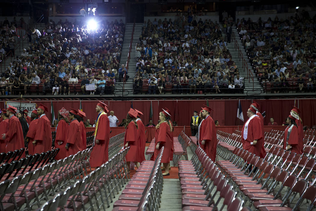 Students make their way to their seat during the UNLV graduation at the Thomas & Mack Center on Saturday, May 13, 2017 in Las Vegas. Erik Verduzco Las Vegas Review-Journal @Erik_Verduzco