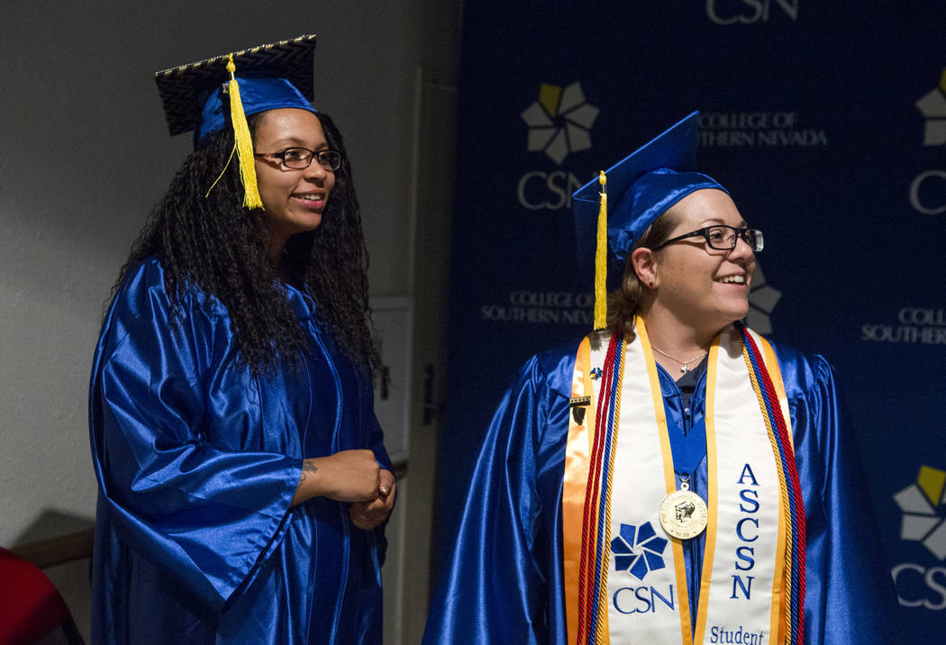 Graduates Larissa Marcum, left, and Jill Robinson prepare to line up before the College of Southern Nevada commencement at the Thomas and Mack Center in Las Vegas on Monday, May 15, 2017. Patrick  ...