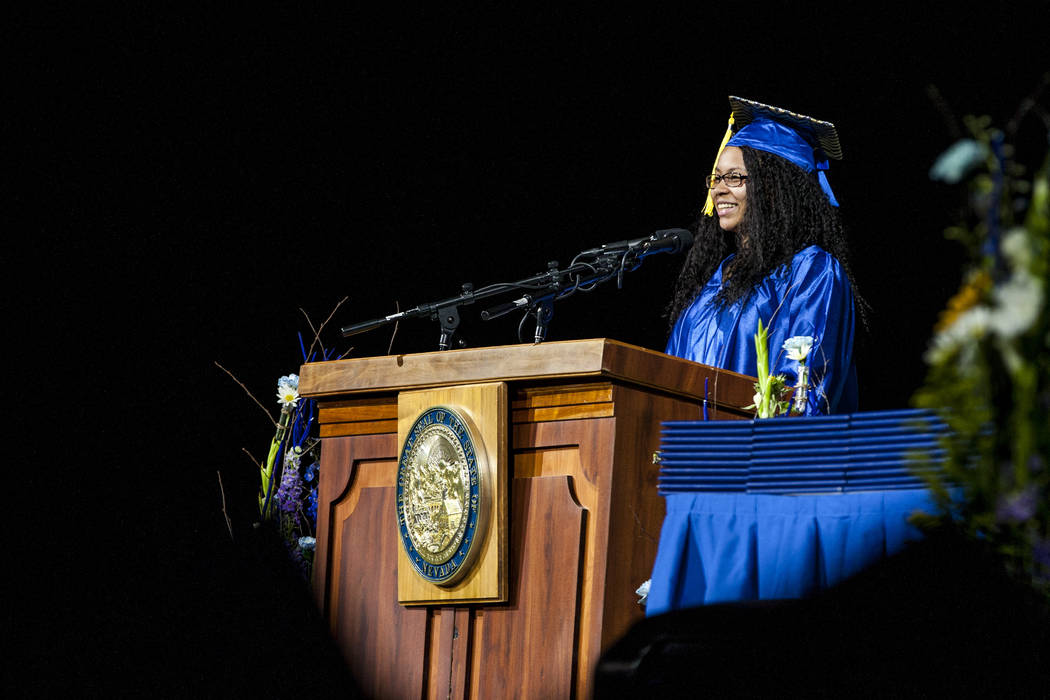 Larissa Marcum, a graduate with an associate's degree in communication, gives the student commencement address during the College of Southern Nevada commencement at the Thomas and Mack Center in L ...