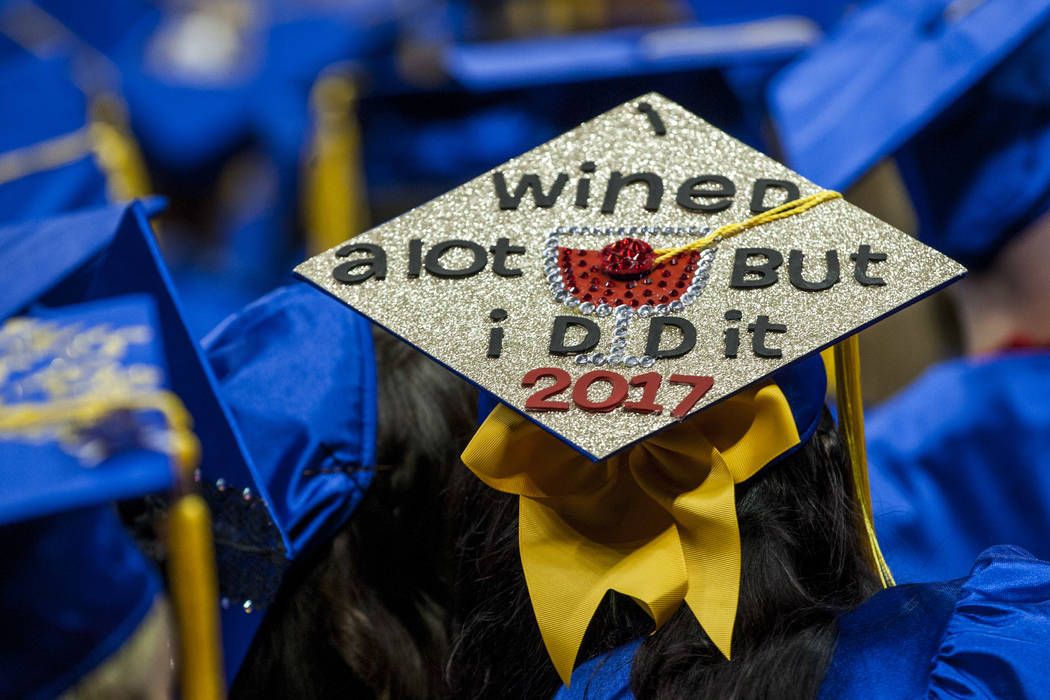A graduation cap at the College of Southern Nevada commencement at the Thomas and Mack Center in Las Vegas on Monday, May 15, 2017. Patrick Connolly Las Vegas Review-Journal @PConnPie