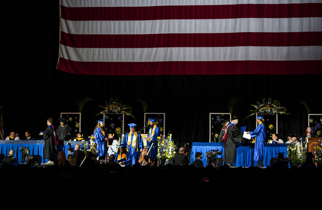 College of Southern Nevada graduates receive their degrees at commencement at the Thomas and Mack Center in Las Vegas on Monday, May 15, 2017. Patrick Connolly Las Vegas Review-Journal @PConnPie