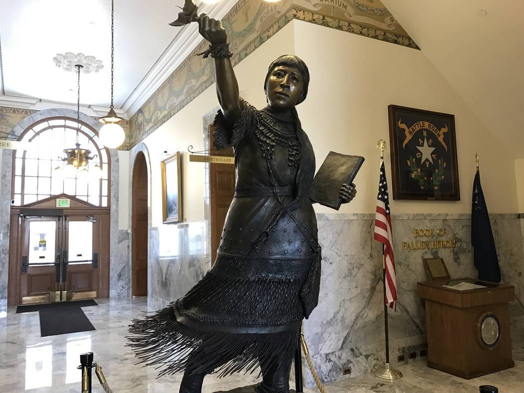 A bronze statute of Paiute princess Sarah Winnemucca in the lobby of the Nevada Capitol in Carson City on Tuesday, April 11, 2017. (Sandra Chereb/Las Vegas Review-Journal)