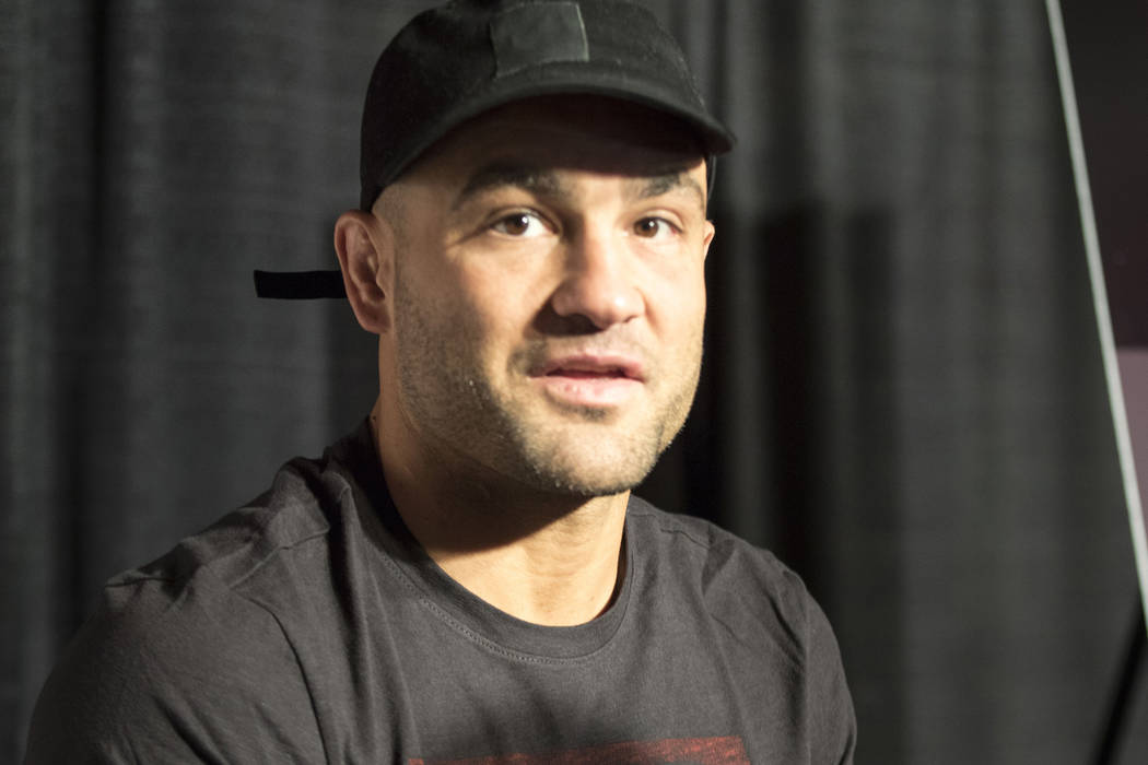 Former UFC lightweight champion Eddie Alvarez talks about rebounding into the win column at UFC 211 media day in Dallas, Texas, on Wednesday, May 10, 2017. Heidi Fang/Las Vegas Review-Journal @Hei ...