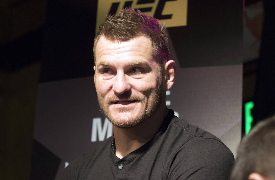 UFC heavyweight champion Stipe Miocic answers questions at UFC 211 media day in Dallas, Texas, on Wednesday, May 10, 2017. Heidi Fang/Las Vegas Review-Journal @HeidiFang