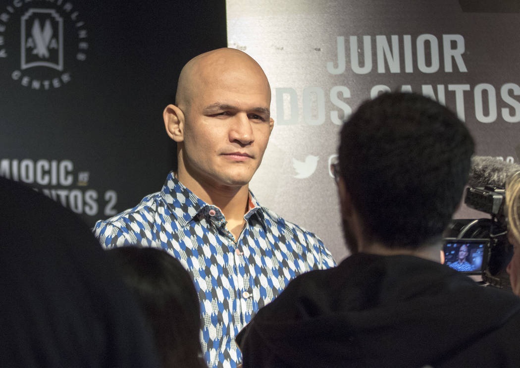 UFC heavyweight title challenger Junior dos Santos while takes questions from reporters at UFC 211 media day in Dallas, Texas, on Wednesday, May 10, 2017. Heidi Fang/Las Vegas Review-Journal @Heid ...