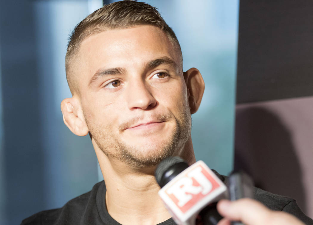 UFC lightweight competitor Dustin Poirier fields questions from reporters at UFC 211 media day at the House of Blues in Dallas, Texas, on Wednesday, May 10, 2017. Heidi Fang/Las Vegas Review-Journ ...