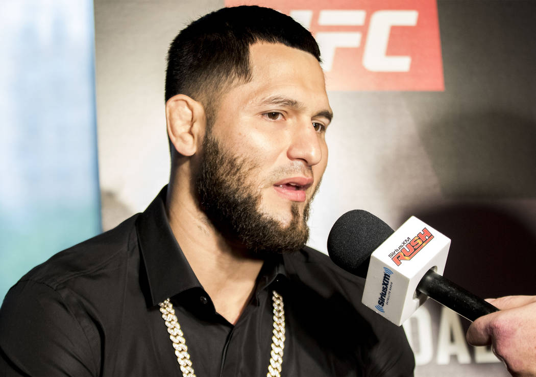 UFC welterweight Jorge Masvidal replies to questions from reporters at UFC 211 media day in Dallas, Texas, on Wednesday, May 10, 2017. Heidi Fang/Las Vegas Review-Journal @HeidiFang