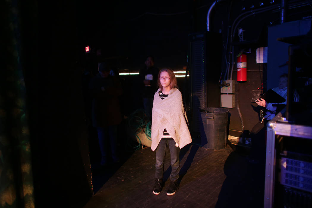 Danielle O'Gara, who plays Gertie Cummins, waits backstage for the start of the Oklahoma! rehearsal at the Super Summer Theatre at Spring Mountain Ranch State Park on Monday, May 15, 2017, in Blue ...