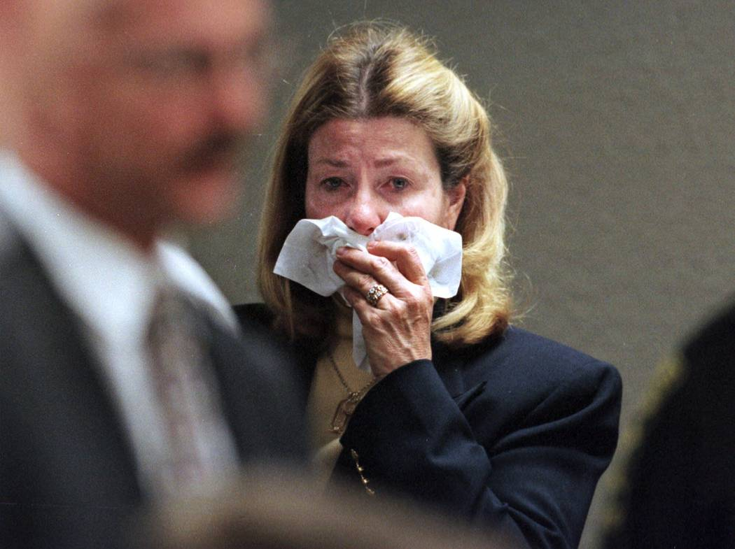 Jeremy Strohmeyer's mother, Winifred, cries as her son is led out of court following a hearing in Las Vegas on Wednesday, Feb. 9, 2000. Strohmeyer, who was convicted of killing 7-year-old Sherrice ...