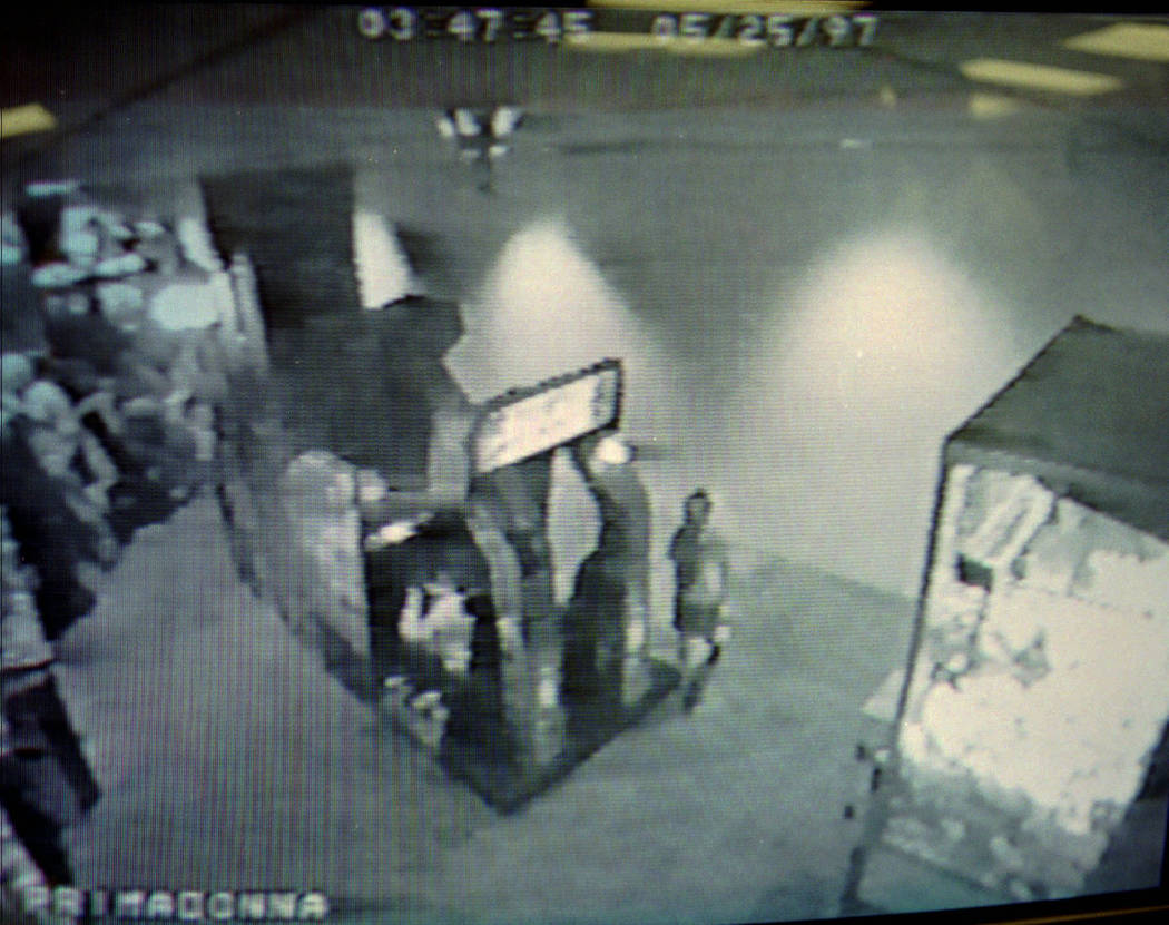 Seven-year-old Sherrice Iverson, right, is shown on surveillance footage seconds before entering the women's restroom on the arcade level of Primm Valley Resort, where she was found murdered early ...