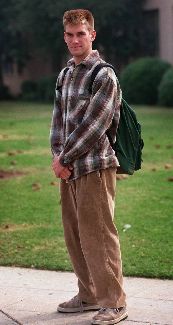Jeremy Strohmeyer, 18, models an article of teenage clothing outside a Long Beach, Calif. high school on November 18, 1996. Strohmeyer later pleaded guilty to the May 25, 1997 killing and sexual a ...
