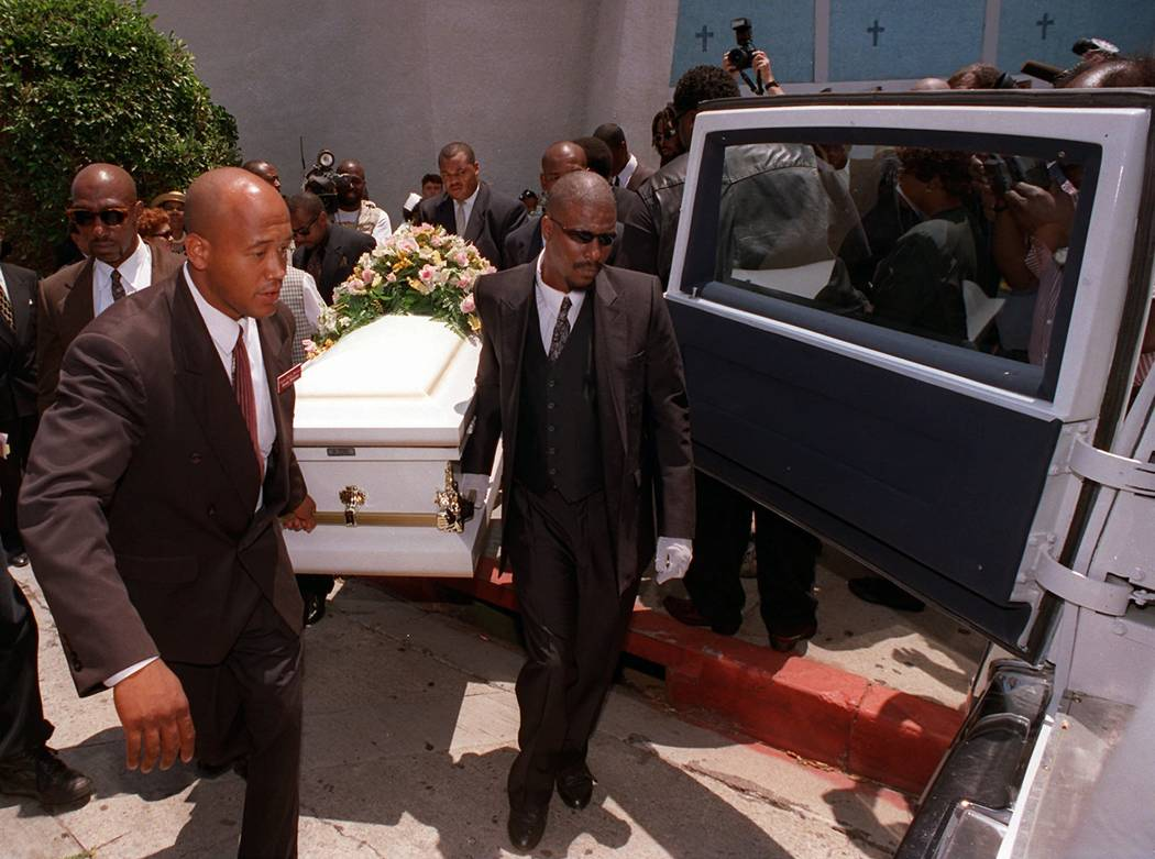 Pallbearers carry the body of Sherrice Iverson, 7, to a hearse after her funeral services in Los Angeles on Saturday May 31, 1997, six days after she was sexually assaulted and killed in a Primm c ...