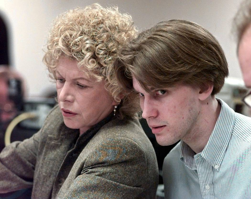 Jeremy Strohmeyer listens in court along with his attorney Leslie Abramson during the jury selection phase of his murder trial, Monday, Aug. 31, 1998, in Las Vegas. The day the trial was set to st ...