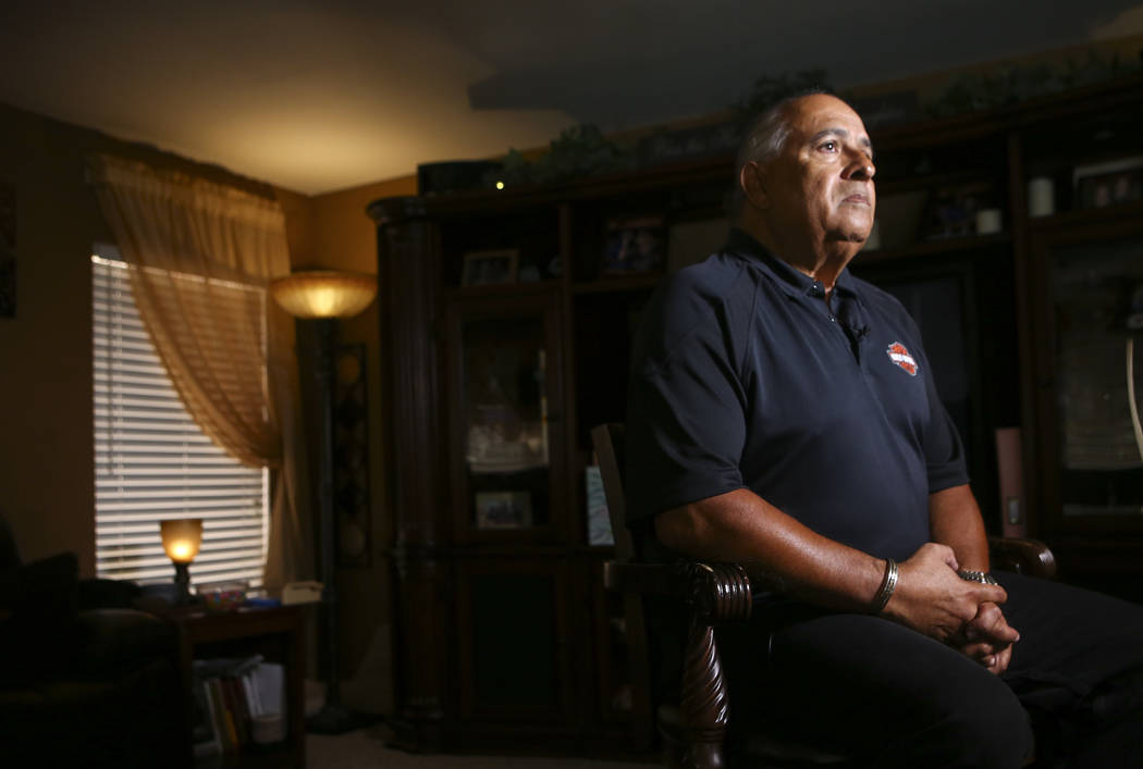 Retired homicide detective Phil Ramos talks about the murder of 7-year-old Sherrice Iverson, who was killed by Jeremy Strohmeyer in 1997 at a Primm hotel-casino, at his home in Las Vegas on Friday ...