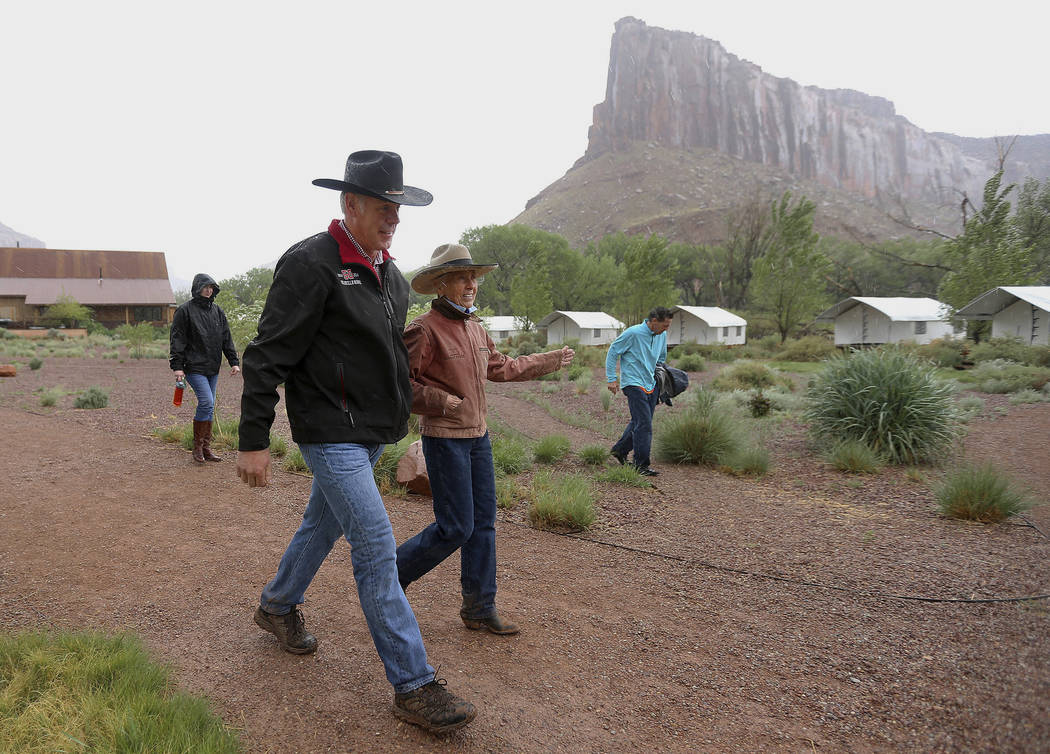 Interior Secretary Ryan Zinke talks with rancher Heidi Redd after a morning hike at the Dugout Ranch in the Indian Creek region of the Bears Ears National Monument, Utah, Tuesday, May 9, 2017. Opp ...