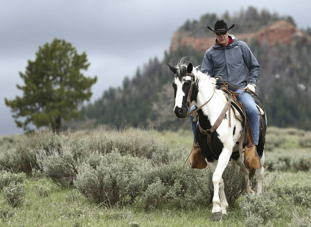 Interior Secretary Ryan Zinke enjoys a horseback ride in the Bears Ears National Monument with local and state representatives in Blanding, Utah, Tuesday, May 9, 2017. Opponents and supporters of  ...