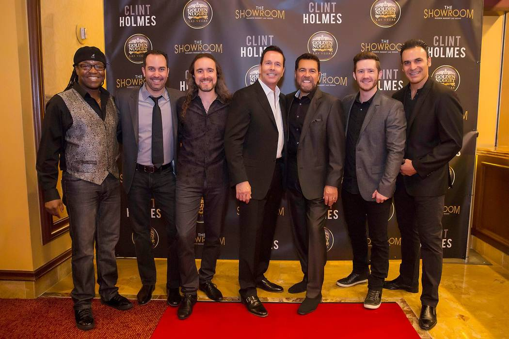 Clint Holmes, third from right, celebrates opening night of his new residency and his 71st birthday at Golden Nugget on Tuesday, May 9, 2017, in Downtown Las Vegas.