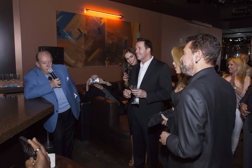 Robin Leach toasts Clint Holmes' 71st birthday at Golden Nugget on Tuesday, May 9, 2017, in Downtown Las Vegas.