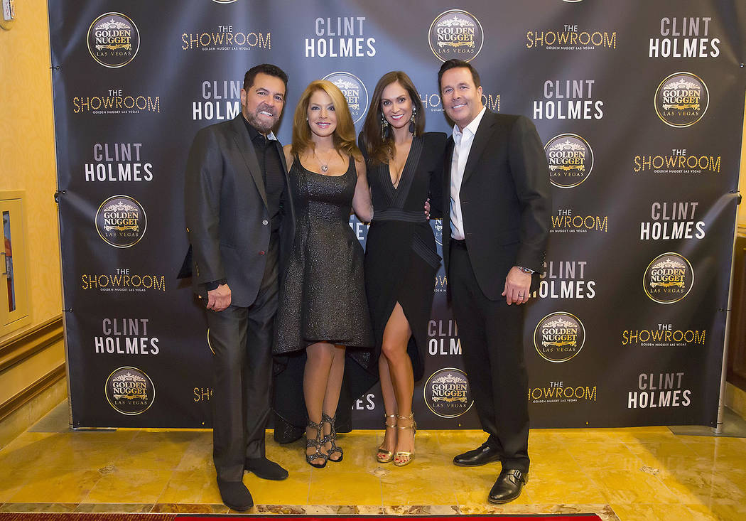 Clint Holmes, left, celebrates opening night of his new residency and his 71st birthday at Golden Nugget on Tuesday, May 9, 2017, in Downtown Las Vegas.