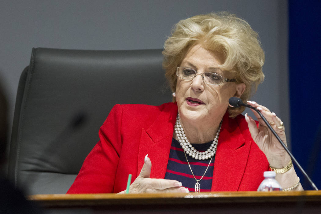 Las Vegas Convention and Visitors Authority board member and Las Vegas Mayor Carolyn Goodman during a board meeting at the Las Vegas Convention Center on Tuesday, April 11, 2017, in Las Vegas. Eri ...
